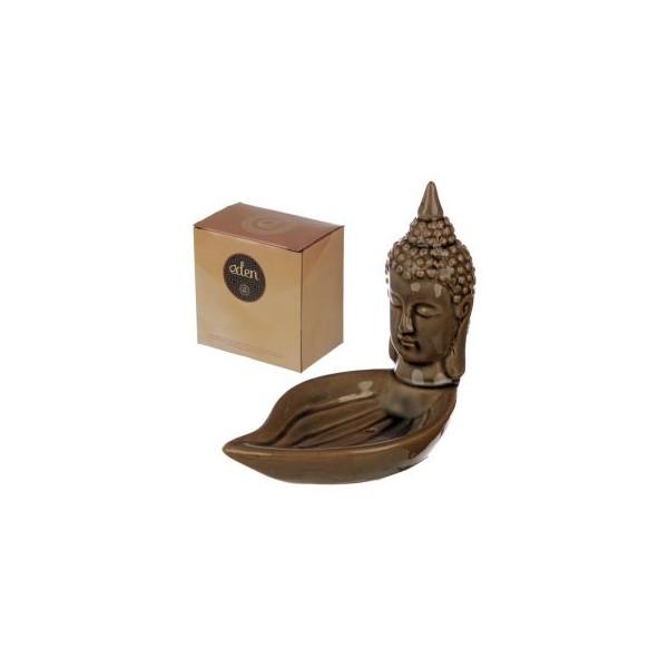 Brucia Incenso in Ceramica a Forma di Testa di Buddha Thai su Foglia