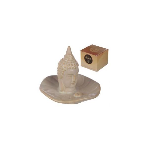 Brucia Incenso in Ceramica Bianca con Testa di  Buddha Thai